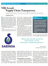 NBJ Award: Supply Chain Transparency