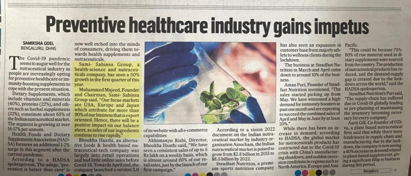News Story in Deccan Herald on June 15, 2020 about ' Preventive Healthcare Industry Gains Impetus' in which Dr. Muhammed Majeed, Founder and Chairman, Sami-Sabinsa Group was quoted
