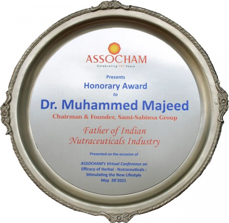 Sami-Sabinsa Founder Dr. Muhammed Majeed Named Father of Indian Nutraceuticals Industry by ASSOCHAM