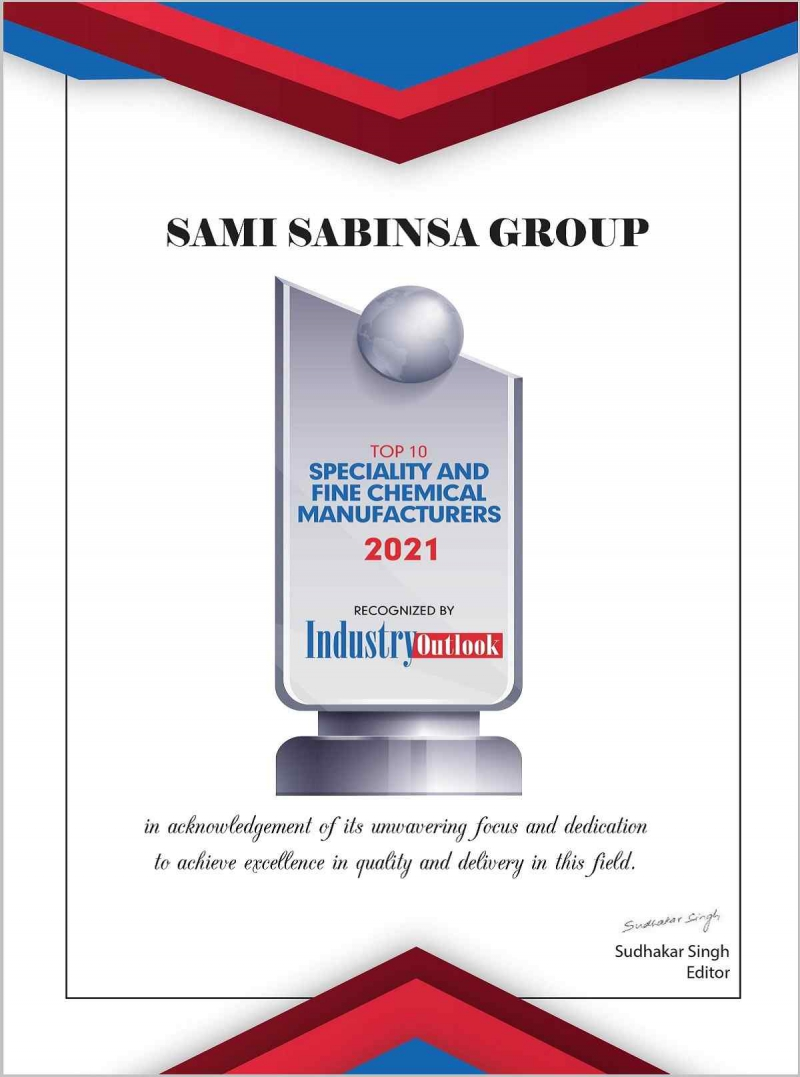Sami-Sabinsa Group Among the Top 10 Speciality and Fine Chemical Manufacturers, Recognized by the Industry Outlook